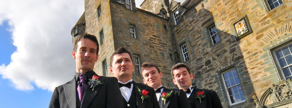 Chaps at a Castle Menzies wedding