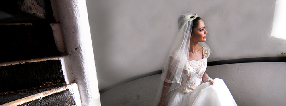 A Castle Menzies wedding - bride on main stairs