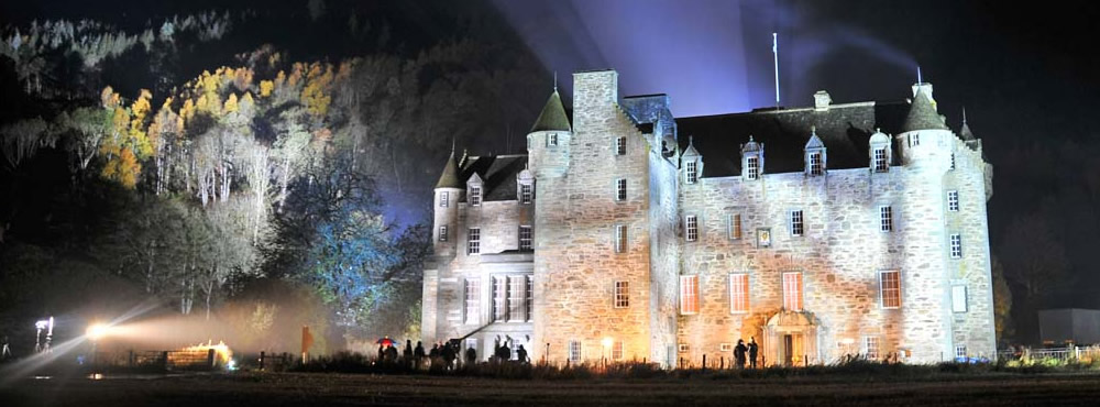 Castle Menzies at night
