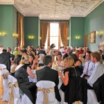 Meal in the Dewar Room at Castle Menzies, spectacular Scottish castle wedding venue